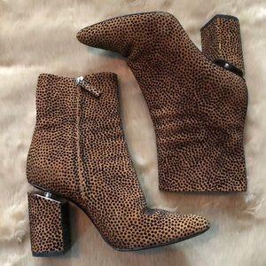 $695 KIRBY Boot Leopard Suede Block Heel Bootie